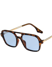Fashion Leopard Blue Film Gradient Pink Double Beam Sunglasses