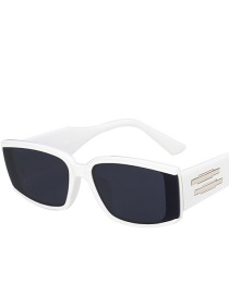 Fashion Real White Gray Flakes Large Frame Round Face Concave Shape Sunglasses
