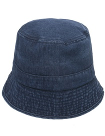 Fashion Navy Blue Denim Pleated Fisherman Hat