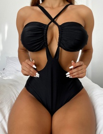 Fashion Black Solid Color Hollow One-piece Swimsuit