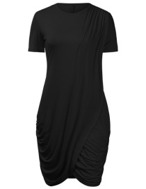 Fashion Black Round Neck Solid Color Short-sleeved Hip Knitted Dress