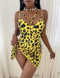 Fashion Yellow Printed One-piece Swimsuit