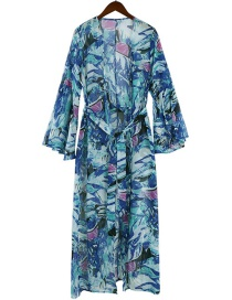 Fashion Blue Belted Loose Long-sleeved Printed Blouse