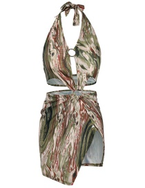 Fashion Green Printed One-piece Swimsuit