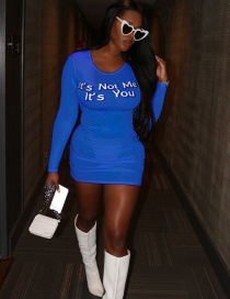 Fashion Blue Long Sleeve Round Neck Letter Print Tight Knit Dress
