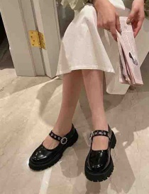 Fashion Black Flat-soled Round-toe Shoes With A Buckle