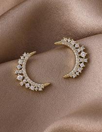 Fashion Gold Color Moon Sparkling Diamond Earrings