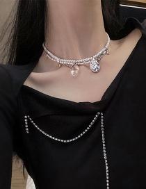 Fashion Silver Color Diamond Pearl Crystal Water Drop Necklace