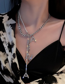 Fashion Silver Color English Alphabet Necklace With Pearls And Diamonds