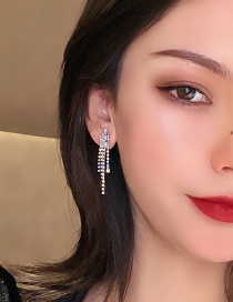 Fashion Silver Color Needle Long Earrings With Diamonds And Zircon