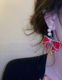 Fashion Silver Color Needle With Diamond Bow Red Diamond Bow Pearl Earrings