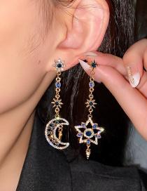 Aretes Largos Asimétricos De Diamantes Con Estrellas Y Luna