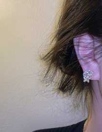 Fashion Silver Color Pin And Diamond Flower Earrings Diamond Flower Earrings