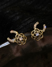 Fashion Silver Color Needle Real Gold Plating C-shaped Flower Diamond Flower Earrings