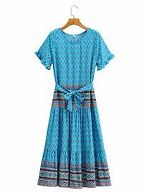 Fashion Blue Floral Printed Belted Dress