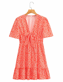 Fashion Red Printed Knotted V-neck Dress