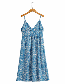 Fashion Blue Floral Printed Small Floral Suspender Skirt
