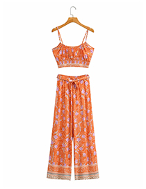Fashion Floral Printed Suspender Top And Trousers Suit
