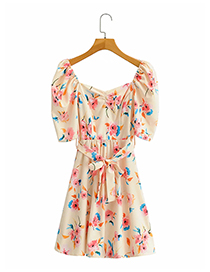 Fashion Yellow Floral Printed Belted Dress