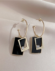 Fashion Black Black Plate Square Earrings With Silver Pin