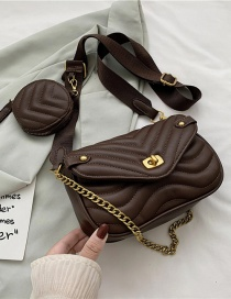 Fashion Coffee Color Two-piece Textured One-shoulder Chain Crossbody Bag