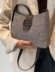 Fashion Brown Canvas Check One Shoulder Underarm Crossbody Bag