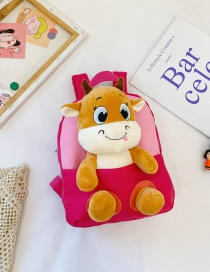 Fashion Rose Red Childrens Plush Cartoon Calf Backpack
