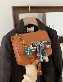 Fashion Brown Silk Scarf Bow Chain Shoulder Messenger Bag