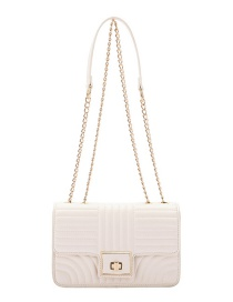 Fashion White Embroidery Stitching Chain One Shoulder Messenger Bag