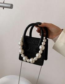 Fashion Black Pearl Chain Hand-held Stone Pattern Handbag