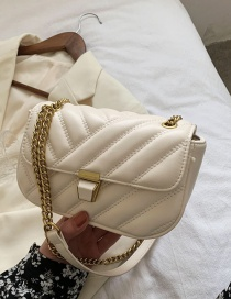 Fashion Off White Lingge Embroidery Thread Texture Chain Shoulder Messenger Bag