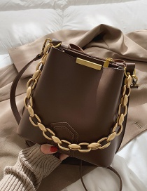 Fashion Coffee Color Pu Acrylic Thick Chain Single Shoulder Messenger Bag