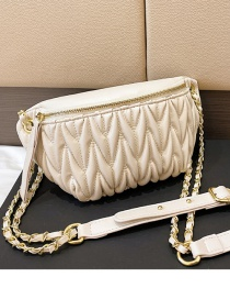 Fashion White Checkered Texture One-shoulder Cross-body Dumpling Bag