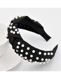 Fashion Black Knotted Headband Full Of Pearl Fabric