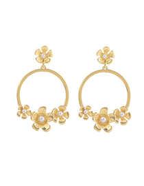 Fashion Gold Color Alloy Flower Pearl Earrings