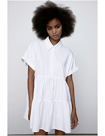 Fashion White Short Dress With Bow