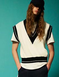 Fashion White Ribbed Vest