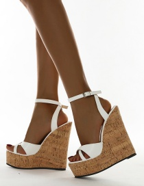 Fashion White Buckle High-heeled Wedge Open-toe Sandals