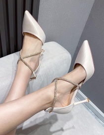 Fashion Apricot Pointed Rhinestone Patent Leather Toe Cap Crystal Stiletto Sandals