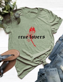 Fashion Armygreen Short-sleeved Cotton T-shirt With Rose Letter Print