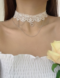 Fashion White Lace And Peach Heart Hollow Chain Necklace