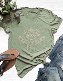 Fashion Armygreen Letter Print Cotton Short-sleeved T-shirt