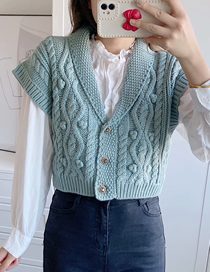 Fashion Blue Solid Color Eight-strand Knit Lapel Loose Sweater