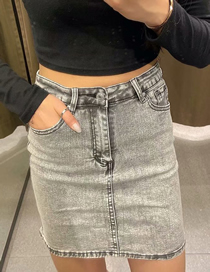 Fashion Gray Washed Denim Mini Skirt
