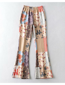 Fashion Color Mixing Patchwork Slim-fit Stretch-knit Printed Trousers