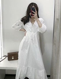 Fashion White Solid Color Cutout Embroidery V-neck Dress