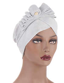 Fashion White Multicolor Bright Silk Cloth Cap With Curled Edges