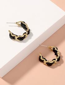 Fashion Black Hollow Chain Metal Black Leather C-shaped Earrings