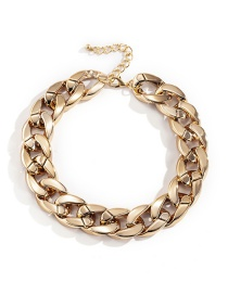 Fashion Gold Color Ccb Geometry Thick Chain Anklet