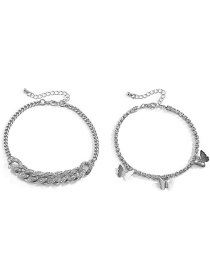 Fashion Silver Double-layer Flash Diamond Anklet With Butterfly Full Of Diamonds